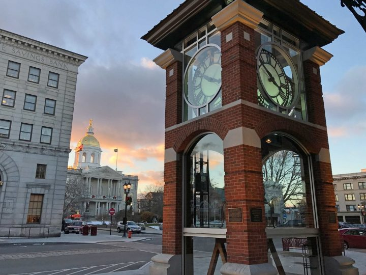 City of Concord. Clock tower and New Hampshire State House